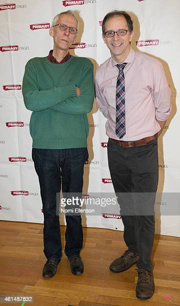 Playwright David Ives and Director John Rando attend 'Lives Of The Saints' Press Preview at Primary Stages Rehearsal Studio on January 13 2015 in New...