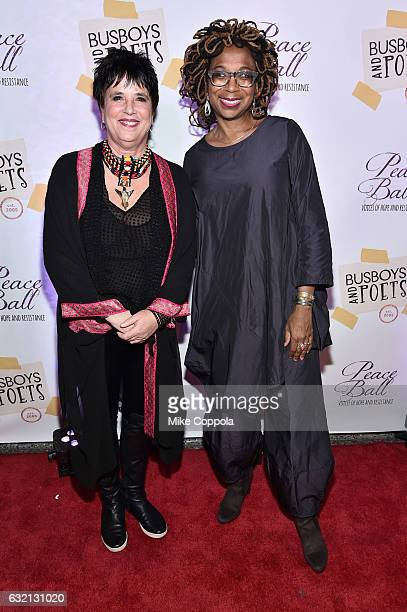 Playwright Eve Ensler and Advocate Kimberle Williams Crenshaw attends the Busboys and Poets' Peace Ball Voices of Hope and Resistance at National...