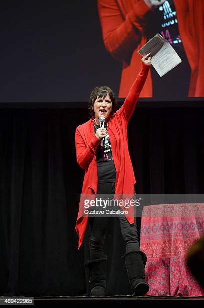 Playwright Eve Ensler speaks onstage at the JUSTLOVE event as part of the global ONE BILLION RISING FOR JUSTICE campaign to end violence against...