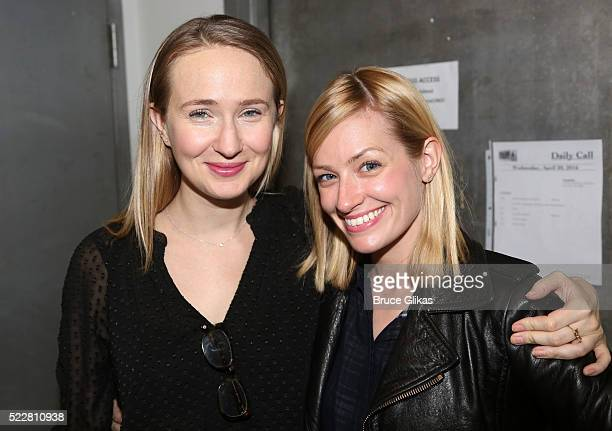 Playwright Halley Feiffer and Beth Behrs pose at the 'A Funny Thing' Cast Photocall at The Roundabout Theatre Rehearsal Studios on April 20 2016 in...