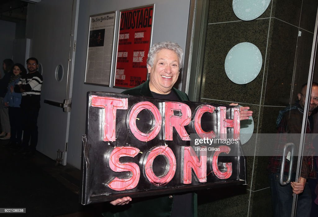 Playwright Harvey Fierstein carries 'the torch' from the Second Stage Tony Kiser Theater to the Helen Hayes Theater where it debuted 36 years ago as Harvey Fierstein's iconic play 'Torch Song' announces its broadway transfer on February 20, 2018 in New York City.