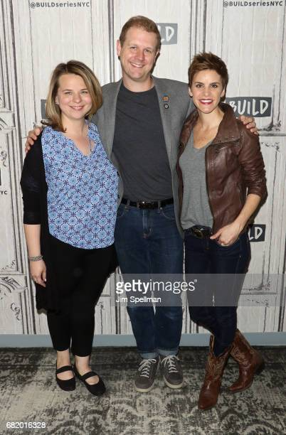 Playwright Irene Carl Sankoff David Hein and actress Jenn Colella attend Build to discuss Come From Away at Build Studio on May 11 2017 in New York...