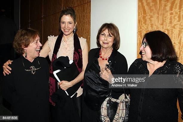 Playwright Jane Wood actress Mira Sorvino Ellen Adler and playwright Tara Prem attend a stage reading of Stella in the Bois de Boulogne at the Center...