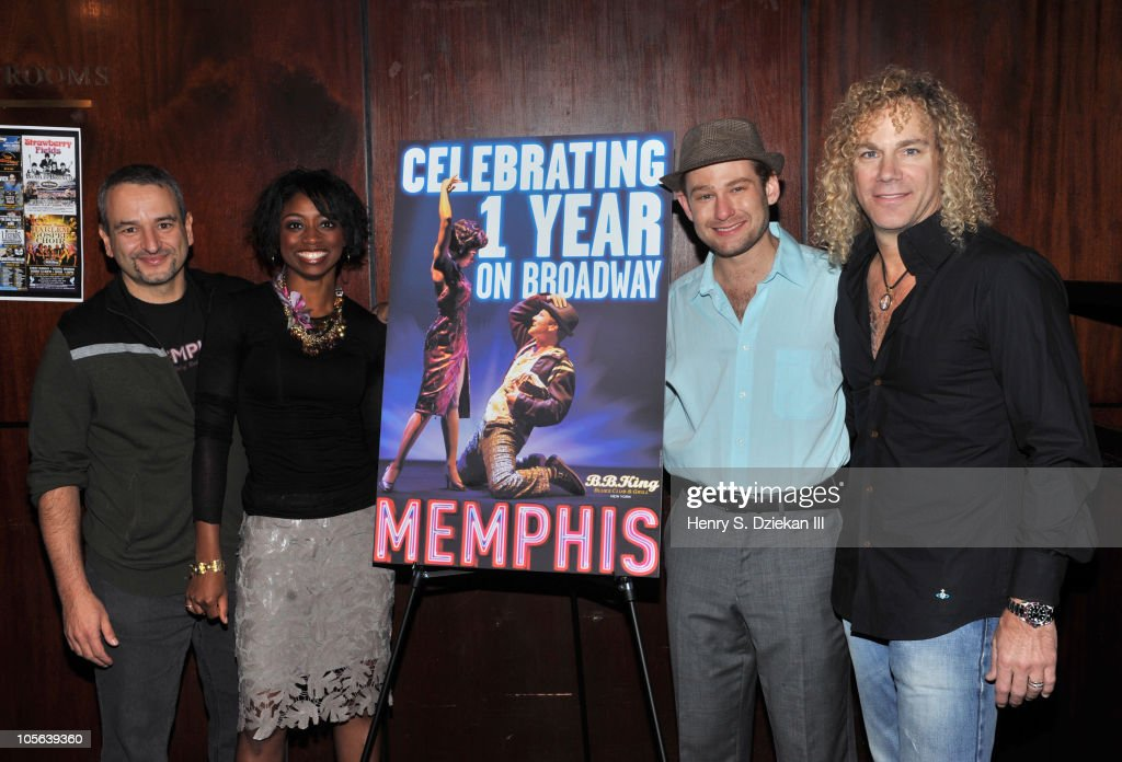 Playwright Joe DiPietro, actress Montego Glover, actor Chad Kimball and musician David Bryan celebrate 'Memphis' being on Broadway for one year at B.B. King Blues Club & Grill on October 17, 2010 in New York City.