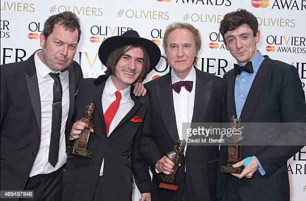 "Playwright Joe Penhall, George Maguire, winner of the Best Actor In A Supporting Role In A Musical for ""Sunny Afternoon"", Ray Davies, winner of the..."