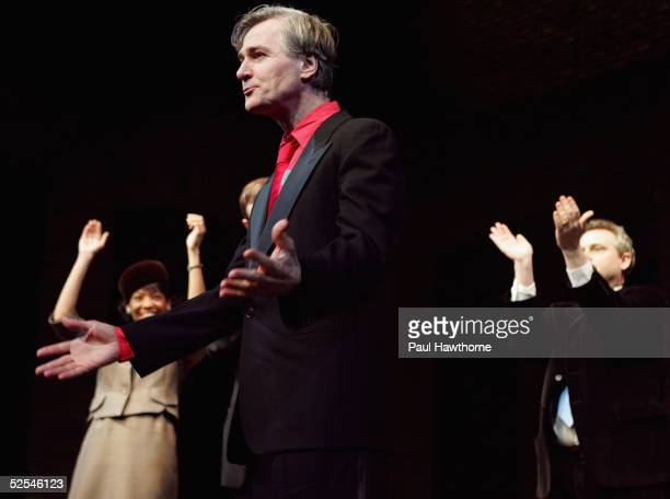 Playwright John Patrick Shanley takes a bow during the curtain call of 'Doubt' at the Walter Kerr Theater on March 31 2005 in New York City