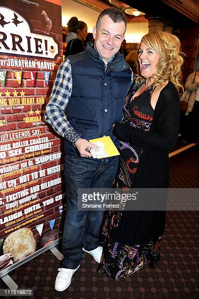 Playwright Jonathan Harvey and former 'Coronation Street' actress Sally Lindsay attend the press night of 'Corrie The Play' at Manchester Palace...