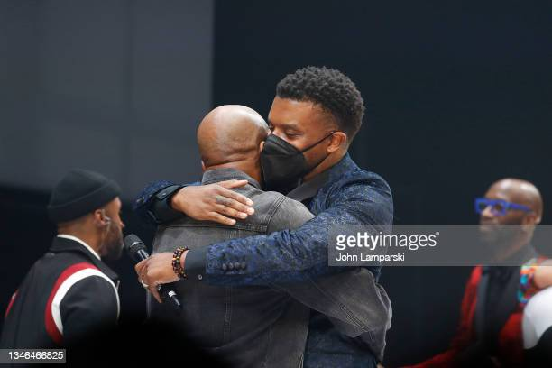 """Playwright Keenan Scott II hugs a cast member during the curtain call of """"Thoughts Of A Colored Man"""" opening night at Golden Theatre on October 13,..."""