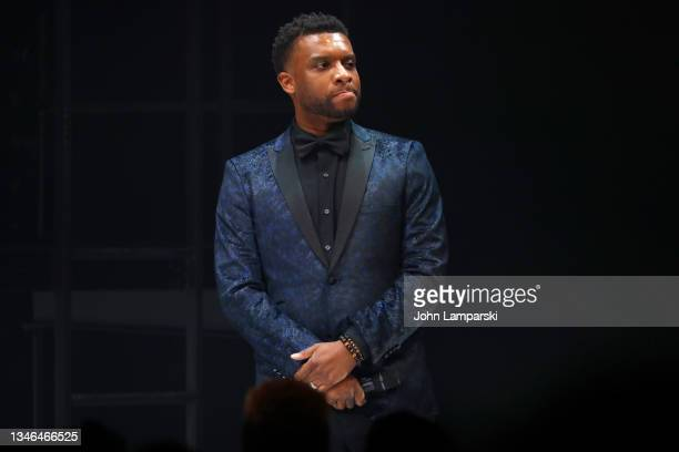 """Playwright Keenan Scott II speaks during the curtain call of """"Thoughts Of A Colored Man"""" opening night at Golden Theatre on October 13, 2021 in New..."""