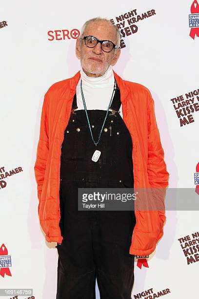 Playwright Larry Kramer attends a onenightonly The Night Larry Kramer Kissed Me anniversary performance at Gerald Lynch Theater on May 20 2013 in New...