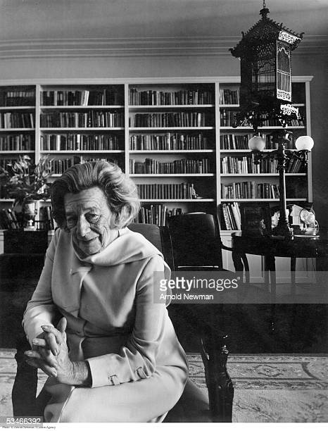 Playwright Lillian Hellman poses for portrait in her apartment March 27 1973 in New York City Hellman is best known for her play 'The Little Foxes'...