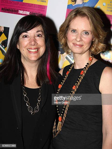 Playwright Lisa Loomer and Cynthia Nixon pose the opening night Distracted at the Roundabout Theatre Company's Laura Pels Theatre on March 4 2009 in...