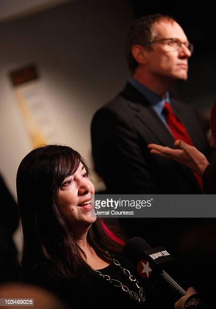 Playwright Lisa Loomer and director Mark Brokaw speak to the media at the opening night of Distracted at the Roundabout Theatre Company's Laura Pels...