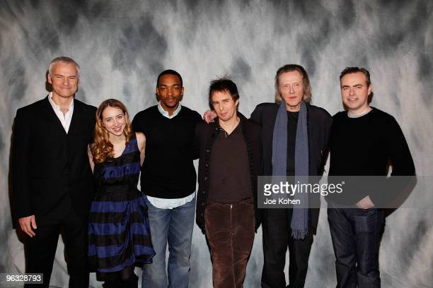 Playwright Martin McDonagh Zoe Kazan Anthony Mackie Sam Rockwell Christopher Walken and Director John Crowley attend attend a meet and greet with the...