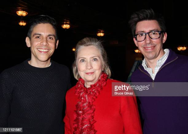 """Playwright Matthew Lopez, Hillary Clinton and Brandon Clarke pose backstage at the play """"The Inheritance"""" on Broadway at The Barrymore Theatre on..."""