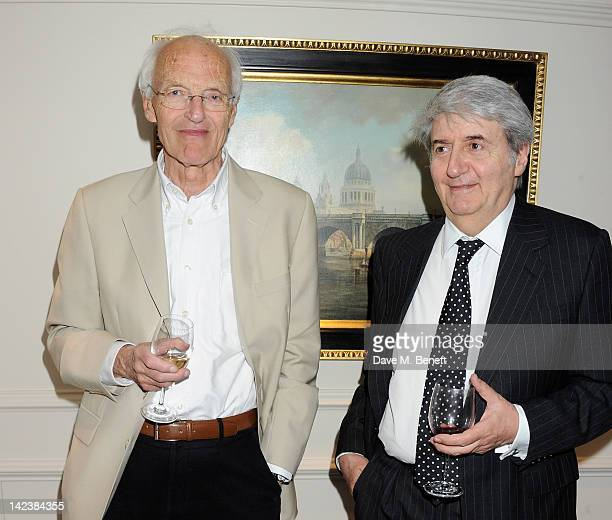 Playwright Michael Frayn and Tom Conti attend an after party celebrating the press night performance of 'Noises Off' as it transfers to the Novello...