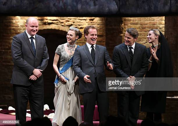 Playwright Mike Bartlett actors Lydia Wilson Adam James Anthony Calf and Sally Scott take a bow during curtain call for the Broadway Opening Night of...
