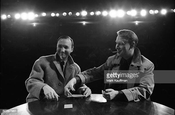 Playwright Neil Simon and director Mike Nichols relaxing after a performance of The Odd Couple