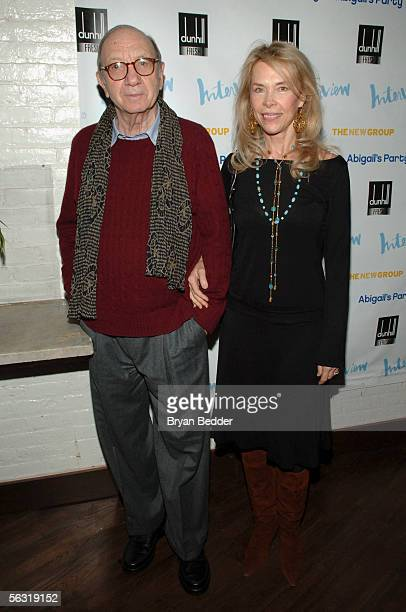 Playwright Neil Simon and his wife Elaine Joyce arrives at the opening night party for Abigail's Party at Sascha on December 1 2005 in New York City