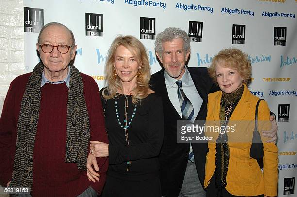 Playwright Neil Simon his wife Elaine Joyce Tony Roberts and Penny Fuller arrive at the opening night party for Abigail's Party at Sascha on December...