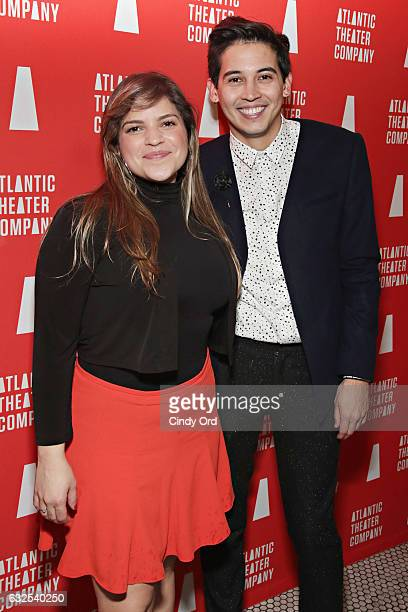 Playwright Paola Lazaro and director David Mendizabal attend the Tell Hector I Miss Him Opening Night Party at Jake's Saloon on January 23 2017 in...
