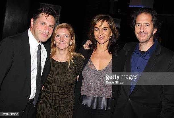 Playwright Patrick Marber wife Debra Gillett Polly Draper and husband Michael Wolff pose at the opening night party for After Miss Julie on Broadway...