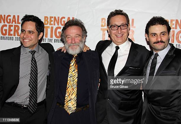 Playwright Rajiv Joseph Robin Williams Director Moises Kaufman and Arian Moayed pose at The Opening Night After Party for Bengal Tiger at the Baghdad...