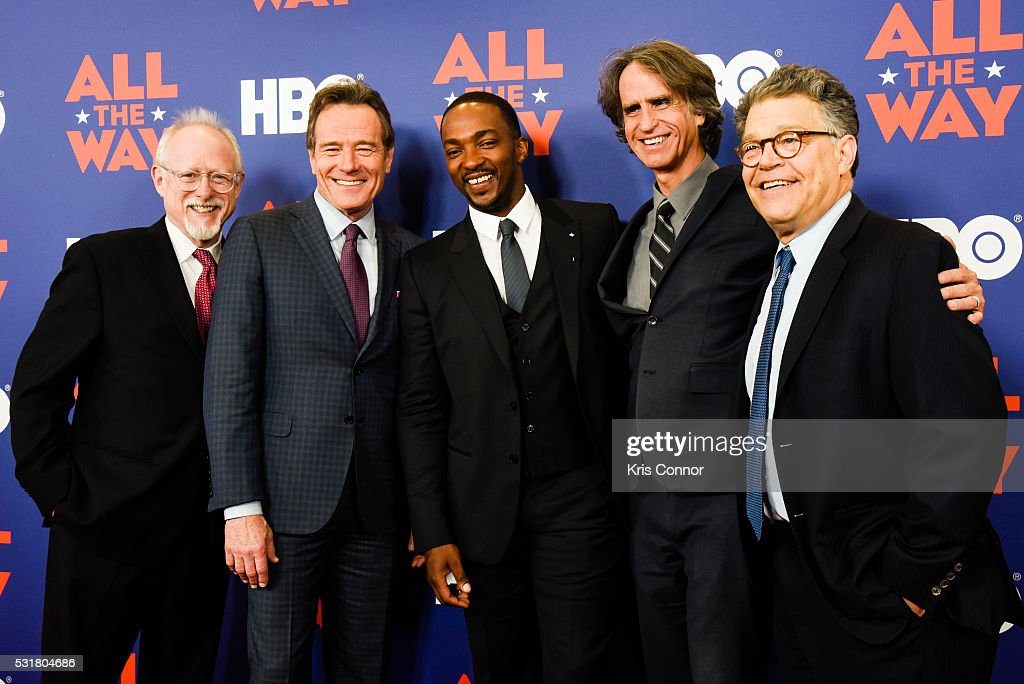 Playwright Robert Schenkkan, actors Bryan Cranston, Anthony Mackie with Director Jay Roach meet Senator Al Franklin (D-MINN) during HBO's 'All The Way' Washington, DC Screening at The National Archives on May 16, 2016 in Washington, DC.