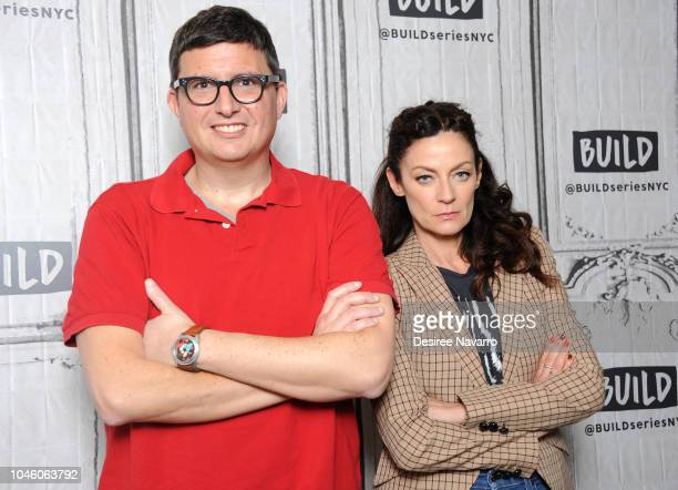 Playwright Roberto AguirreSacasa and actress Michelle Gomez attend Build Brunch to discuss TV series 'Chilling Adventures of Sabrina' at Build Studio...