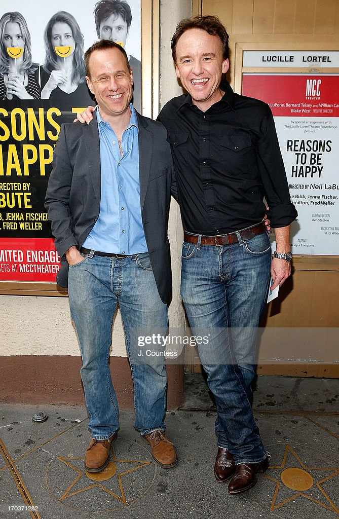 Playwright Stephen Belber and David Gordon attend the 'Reasons To Be Happy' Broadway Opening Night at Lucille Lortel Theatre on June 11, 2013 in New York City.