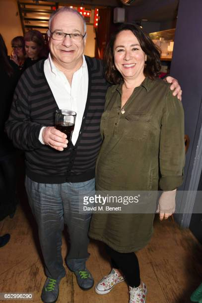 Playwright Stewart Permutt and Arabella Weir attend the press night performance of 'A Dark Night In Dalston' at the Park Theatre on March 13 2017 in...