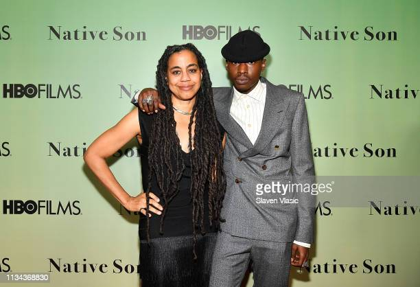 Playwright SuzanLori Parks and actor Ashton Sanders attend HBO's Native Son screening at Guggenheim Museum on April 1 2019 in New York City