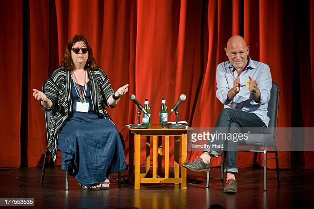 Playwright Theresa Rebeck and moderator Gary Garrison conduct a QA for the Having Our Say National Conference at Merle Reskin Theatre on August 23...