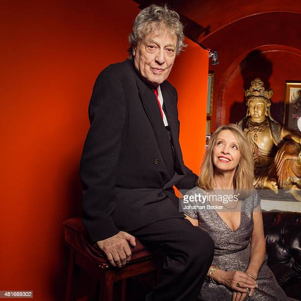 Playwright Tom Stoppard and wife Sabrina Guinness are photographed at the Charles Finch and Chanel's PreBAFTA on February 7 2015 in London England