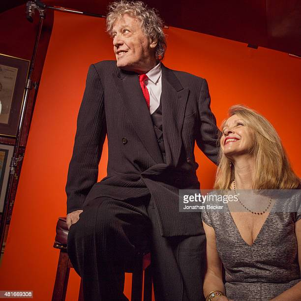 Playwright Tom Stoppard and wife Sabrina Guinness are photographed at the Charles Finch and Chanel's PreBAFTA on February 7 2015 in London England...
