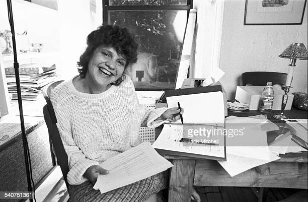 Playwright Wendy Wasserstein at work writing The Heidi Chronicles in 1985
