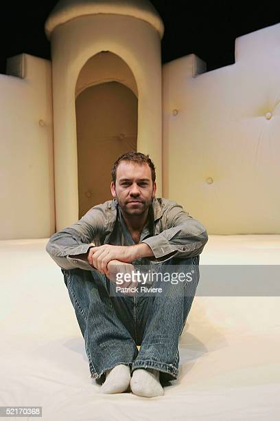 Playwrighter/director Brendan Cowell poses on the bed set after the photo call of Bed at Sydney Theatre Company's Wharf 2 Blueprints February 10 2005...