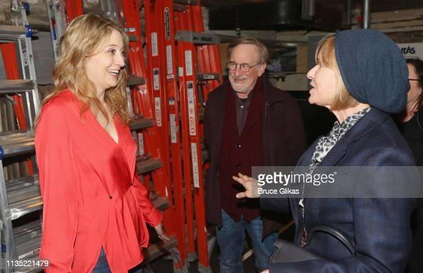 "Playwright/Performer Heidi Schreck, Steven Spielberg and wife Kate Capshaw chat backstage at the hit play ""What The Constitution Means to Me"" on..."