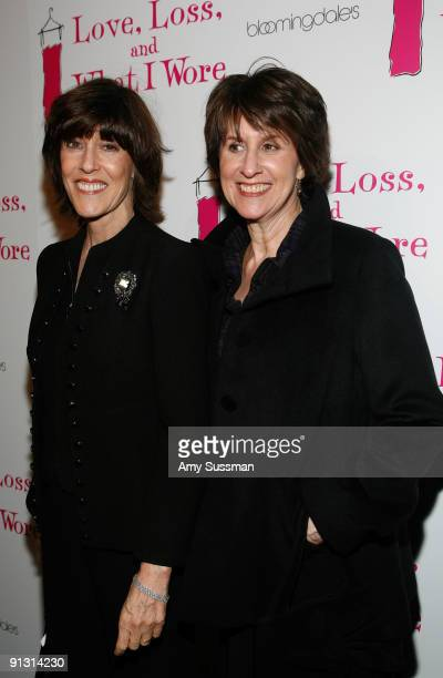 Playwrights Nora Ephron and Delia Ephron attend the Off Broadway opening night of ''Love, Loss and What I Wore'' at The Westside Theatre on October...