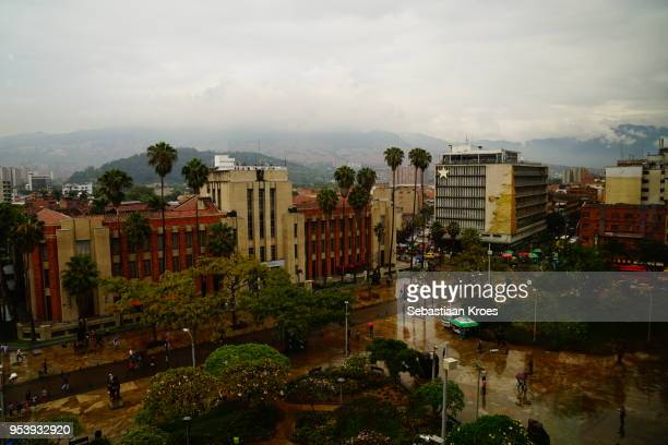 plaza botero square in the rain, medellin, colombia - antioquia stock pictures, royalty-free photos & images