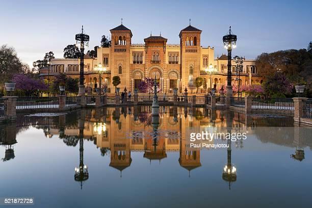 plaza de america, parque de maria liuisa, seville, spain - seville stock pictures, royalty-free photos & images