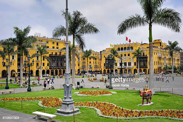 plaza de armas in lima, peru - lima peru stock pictures, royalty-free photos & images
