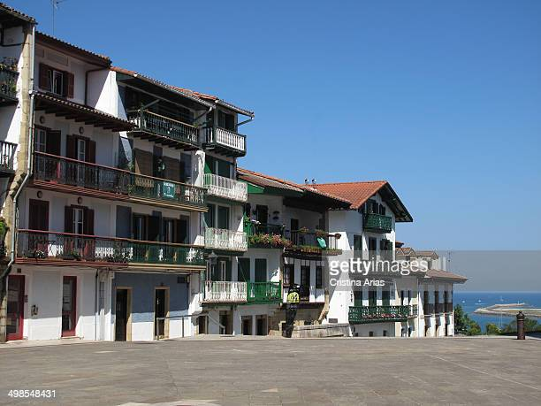 Plaza de armas in the old town of Hondarribia Guipuzcoa Basque Country Spain