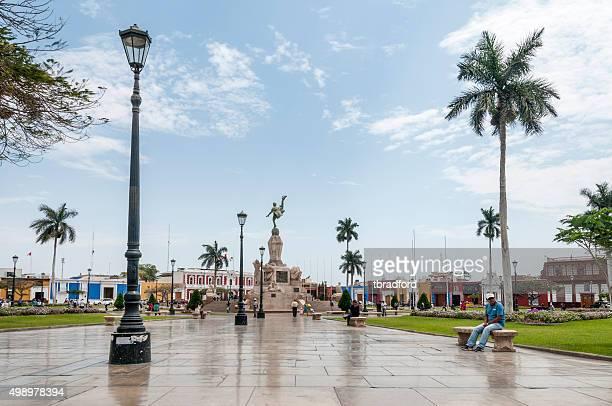 plaza de armas in trujillo, peru - lima peru stock photos and pictures
