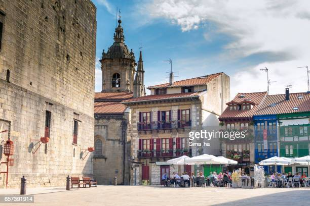 plaza de armas, main square of hondarribia. spain. - granada spain stock pictures, royalty-free photos & images