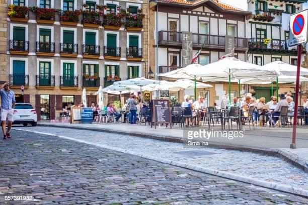 plaza de armas, main square of hondarribia. spain. - san sebastian spain stock pictures, royalty-free photos & images