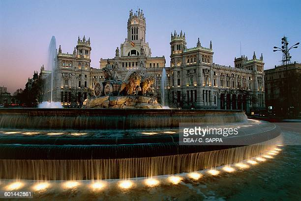 Plaza de Cibeles with the fountain of the same name 18th century and the City Hall Madrid Spain