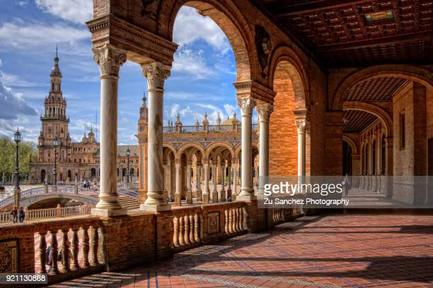 plaza de españa in seville city - seville stock pictures, royalty-free photos & images