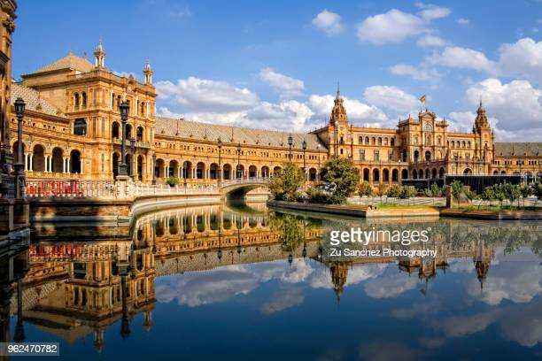 plaza de españa, magical reflection - seville stock pictures, royalty-free photos & images