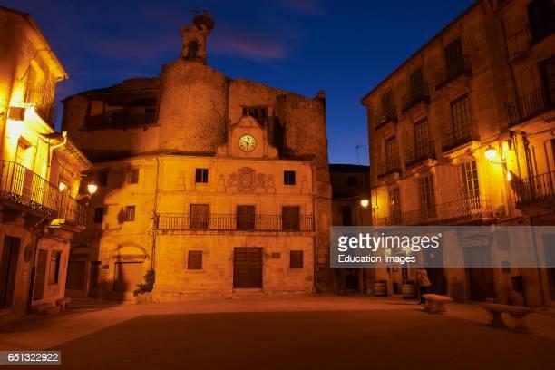 Plaza de EspaÐa Sepulveda EspaÐa Square at Dusk Segovia province CastillaLeon Spain